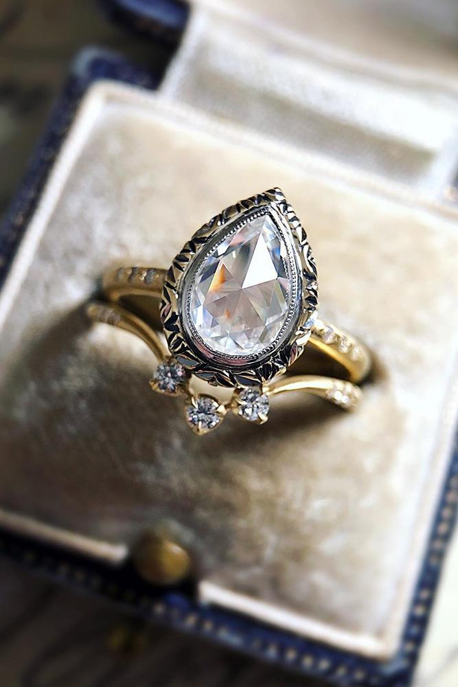 vintage engagement rings rose gold wedding ring pear cut diamond engagement ring