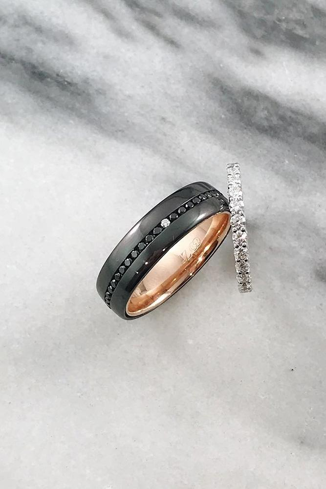 black diamond engagement rings rose gold wedding bands unique wedding bands