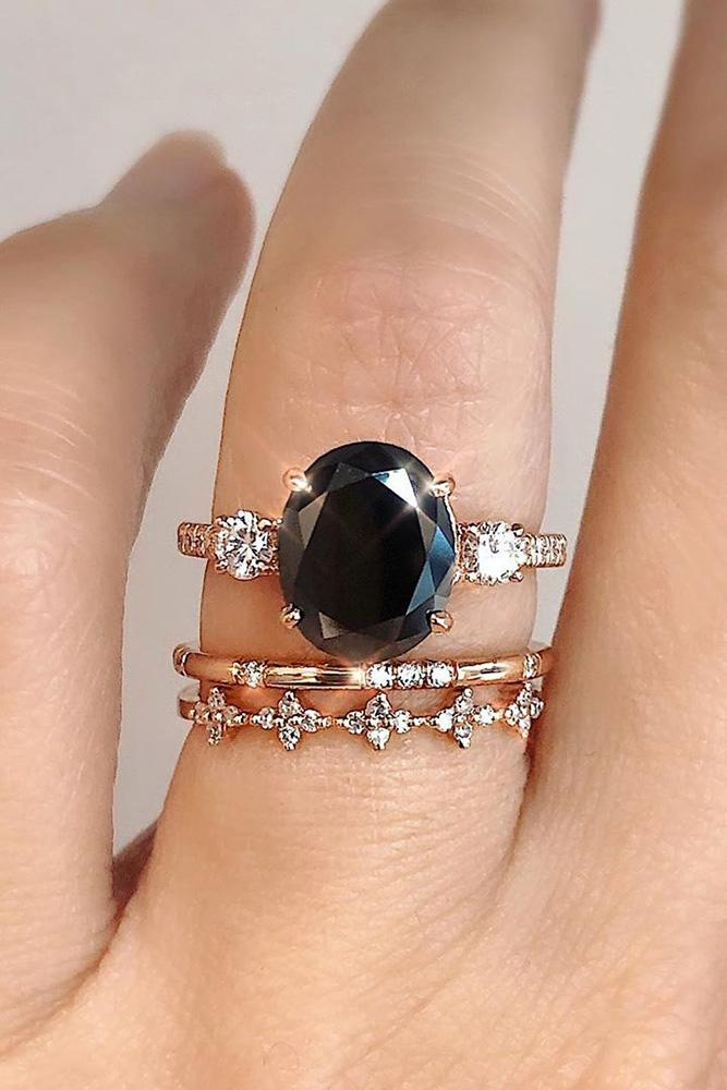 black diamond engagement rings rose gold wedding rings three stone rings wedding ring