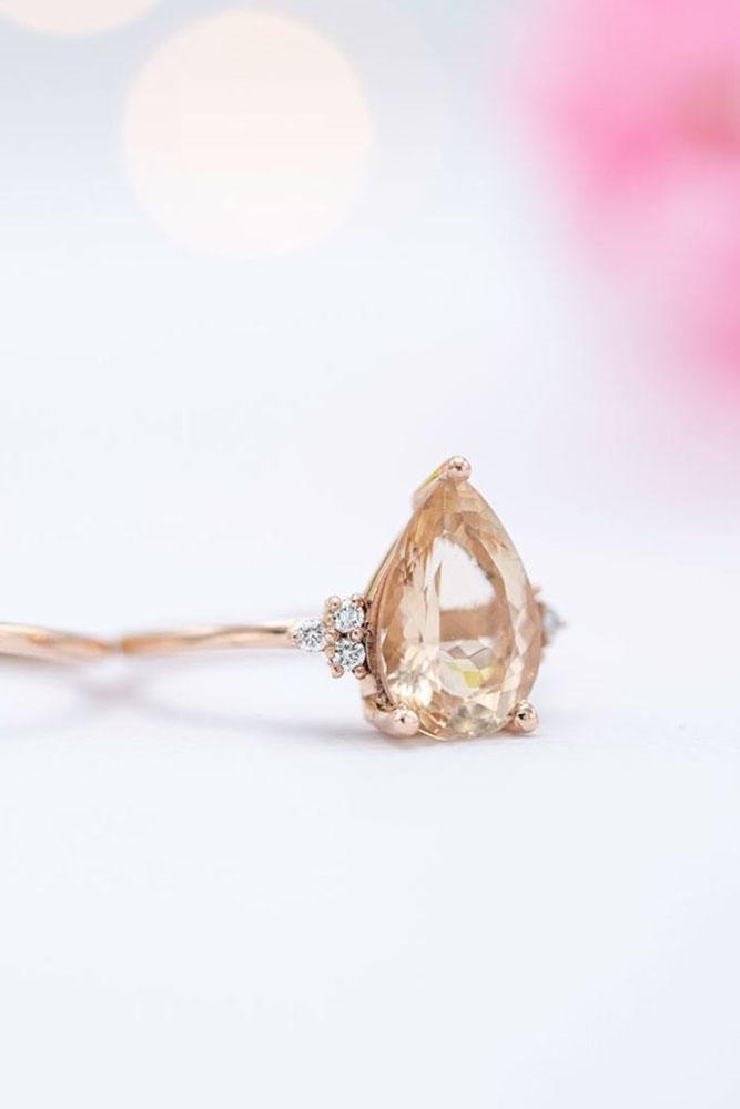 morganite engagement rings rose gold engagement rings pear cut rings