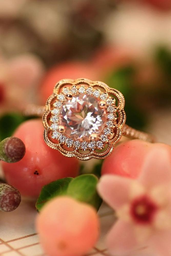 morganite engagement rings rose gold rings halo engagement rings unique ring
