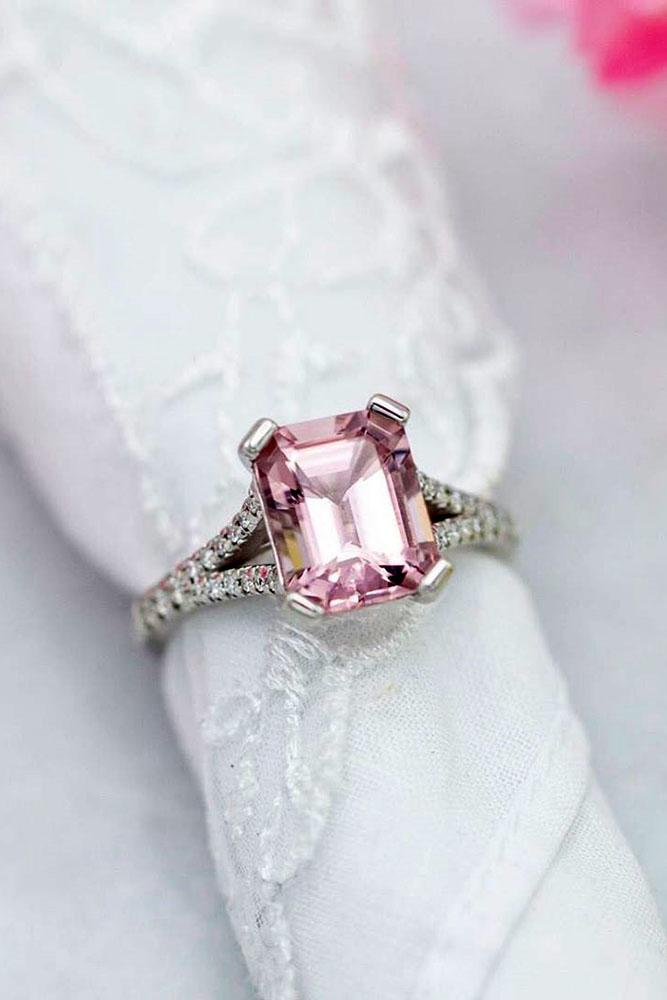 morganite engagement rings white gold engagement rings emerald cut rings