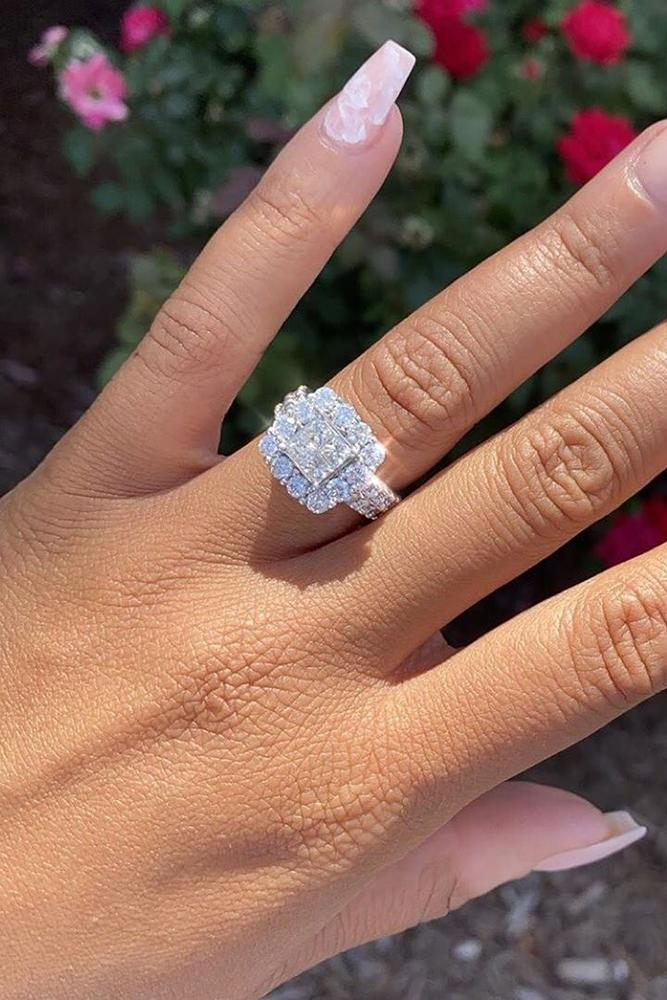 princess cut engagement rings white gold engagement ring halo ring
