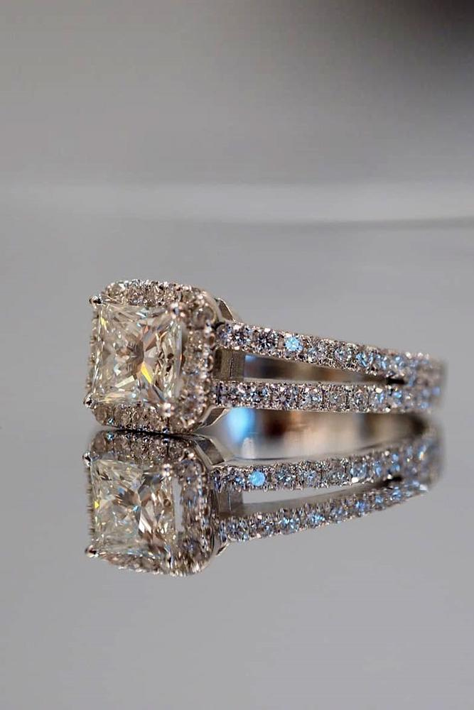 princess cut engagement rings white gold engagement ring halo ring pave band