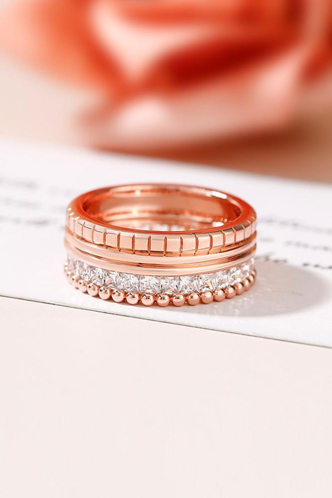 rose gold wedding rings bridal sets wedding bands