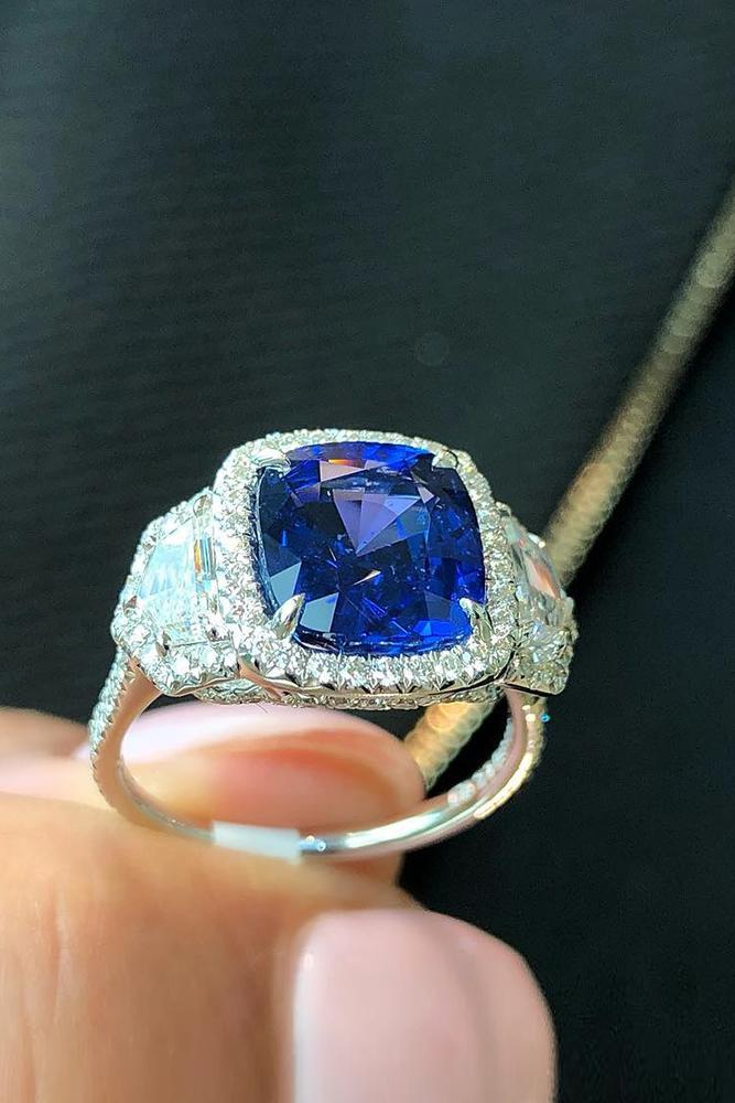 sapphire engagement rings white gold engagement ring three stone ring diamond halo