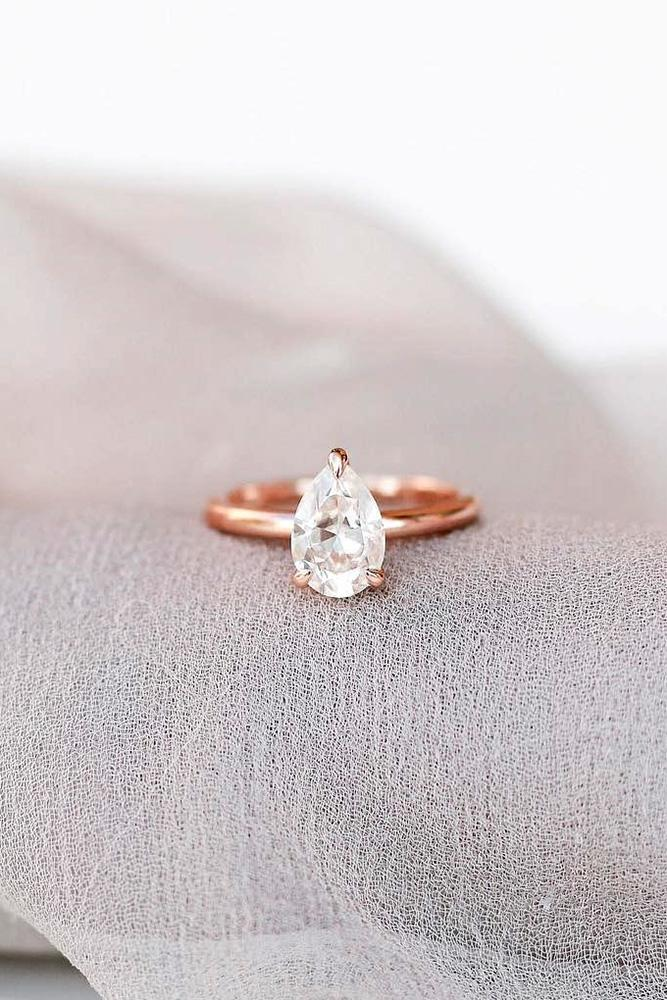 solitaire engagement rings rose gold engagement rings pear shaped engagement rings diamond rings