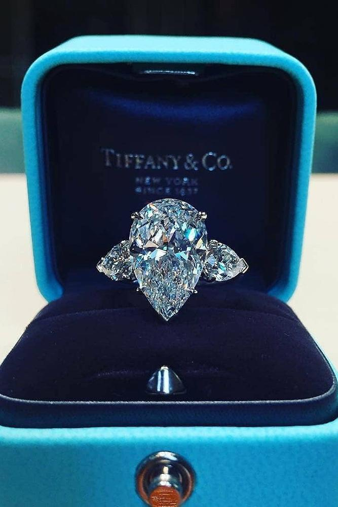tiffany engagement rings white gold engagement ring pear cut ring three stone ring