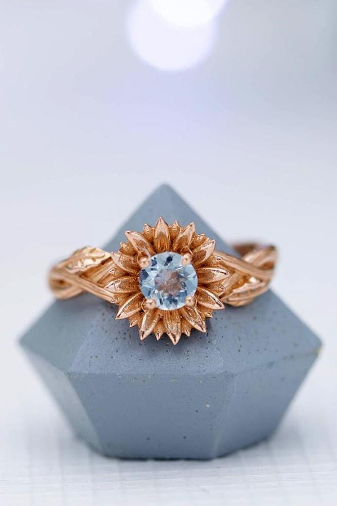 unique engagement rings rose gold engagement rings aquamarine ring floral ring
