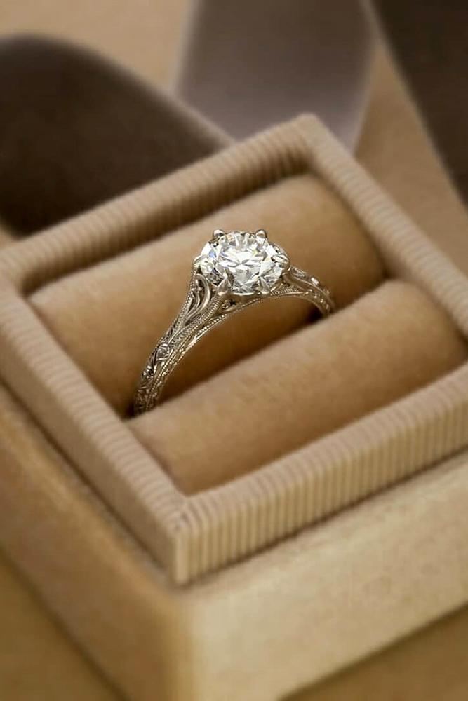 vintage engagement rings diamond engagement ring round cut engagement ring