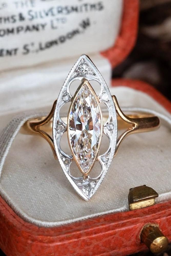 vintage engagement rings rose gold engagement rings marquise halo ring