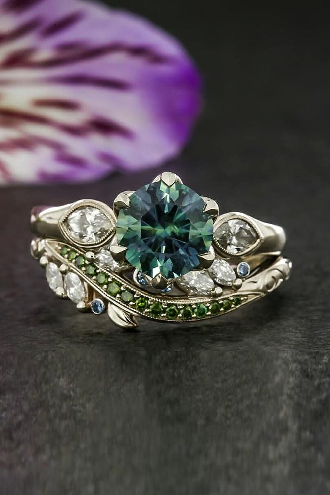 vintage wedding rings white gold wedding rings bridal sets gemstone ring floral ring