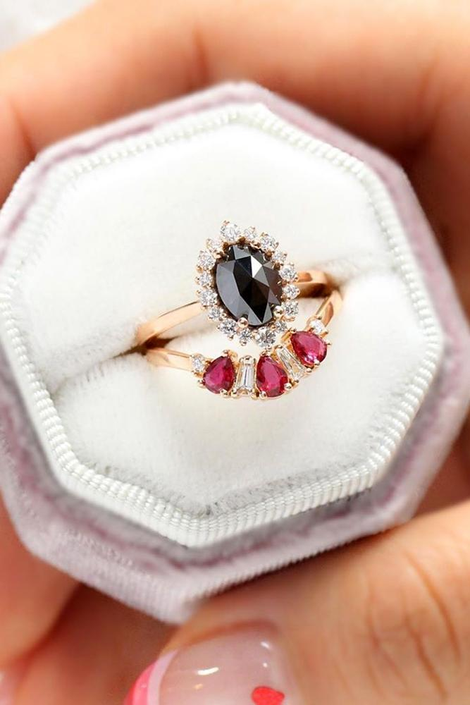 black diamond engagement rings oval cut in diamond halo vintage ring bridal sets