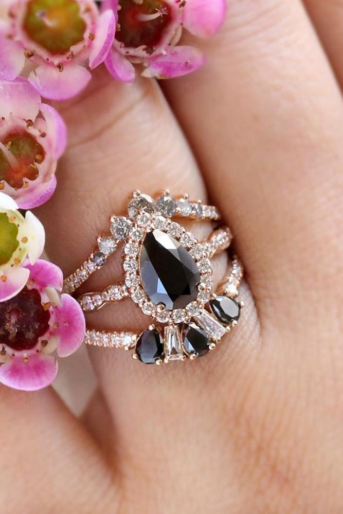 black diamond engagement rings pear cut in diamond halo vintage ring bridal sets