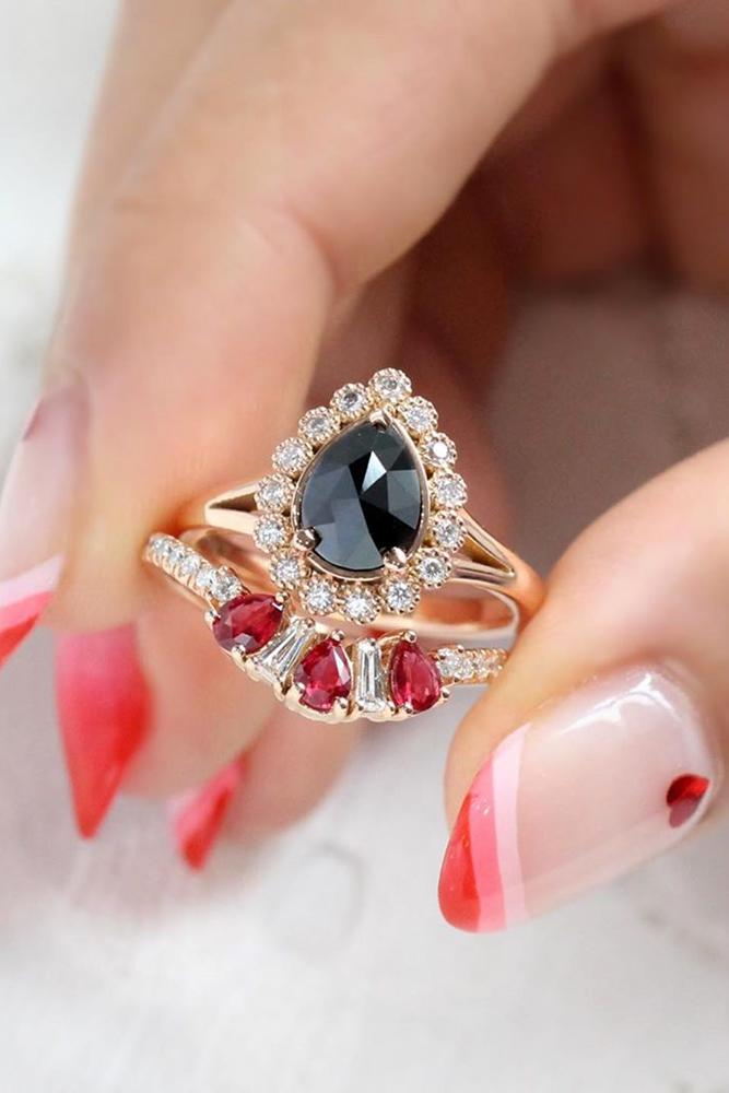 black diamond engagement rings pear cut in diamond halo vintage ring ruby ring