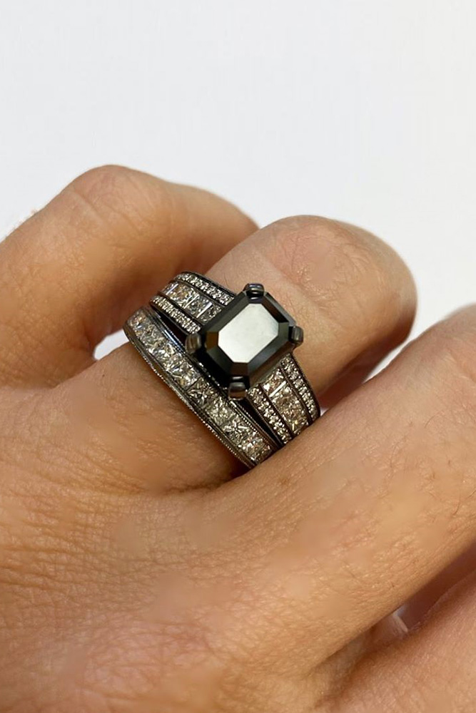 black diamond engagement rings white gold engagement ring emerald cut engagement rings bridal sets