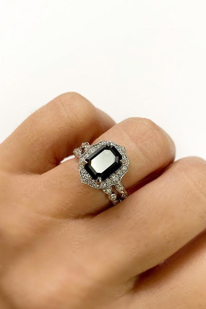 black diamond engagement rings white gold engagement ring halo rings bridal sets