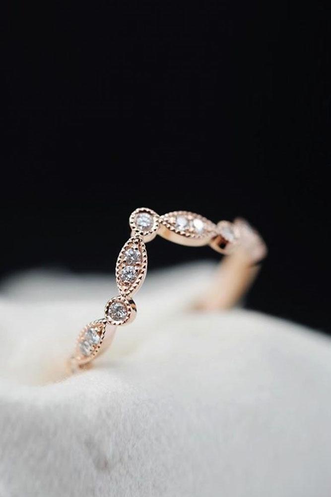 bridal sets unique wedding rings rose gold wedding bands vintage