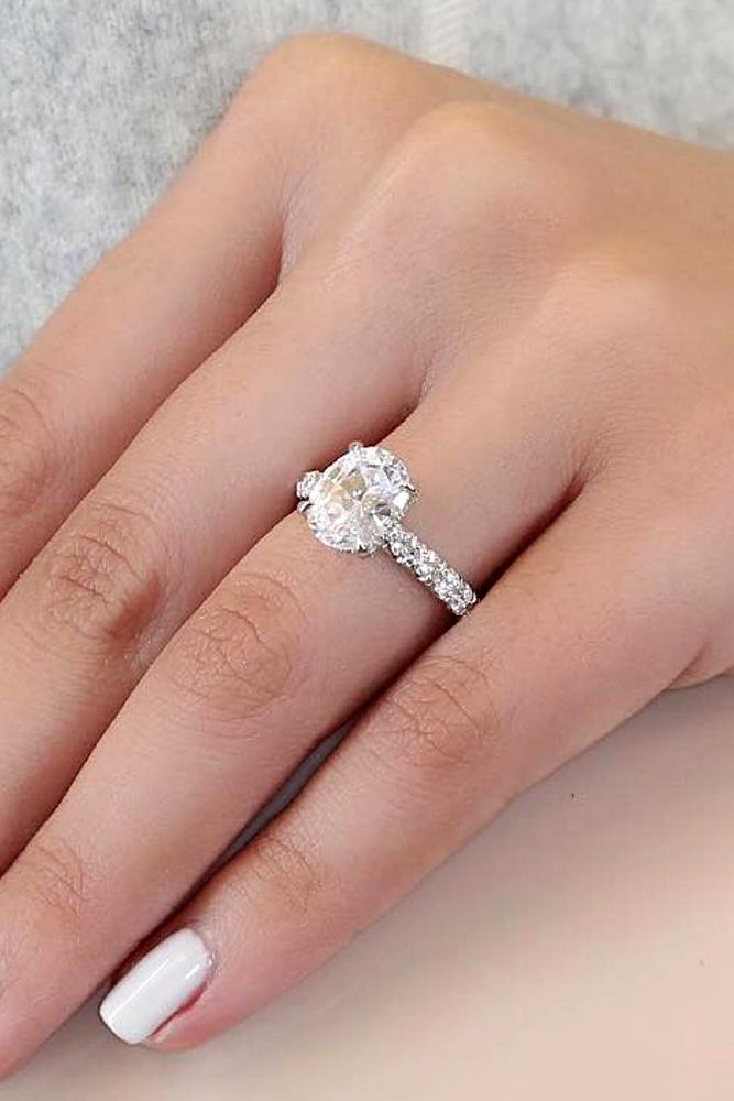 diamond engagement rings white gold engagement rings pave band