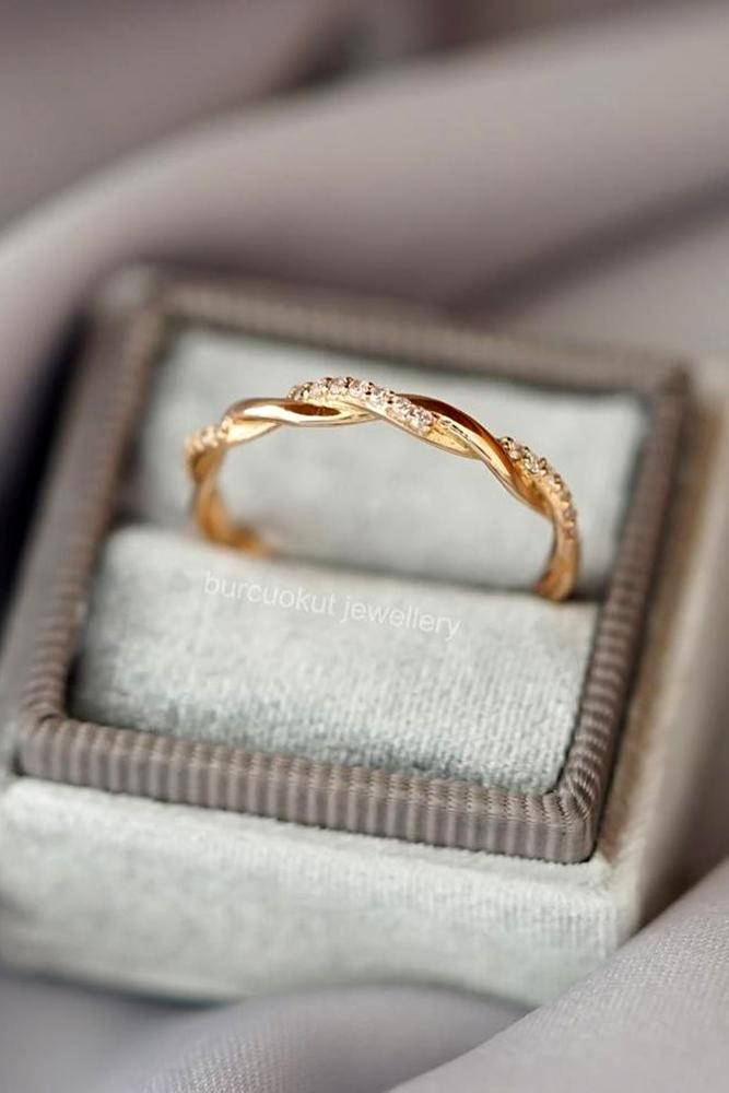 diamond wedding rings rose gold wedding bands stackable bands unique bands twisted bands