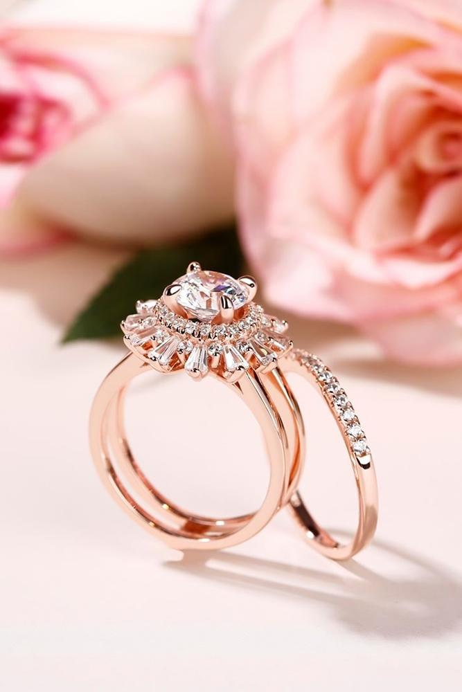 diamond wedding rings rose gold wedding ring sets unique rings bridal sets