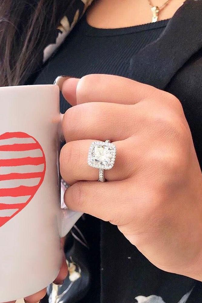 halo engagement rings white gold engagement rings cushion cut engagement rings