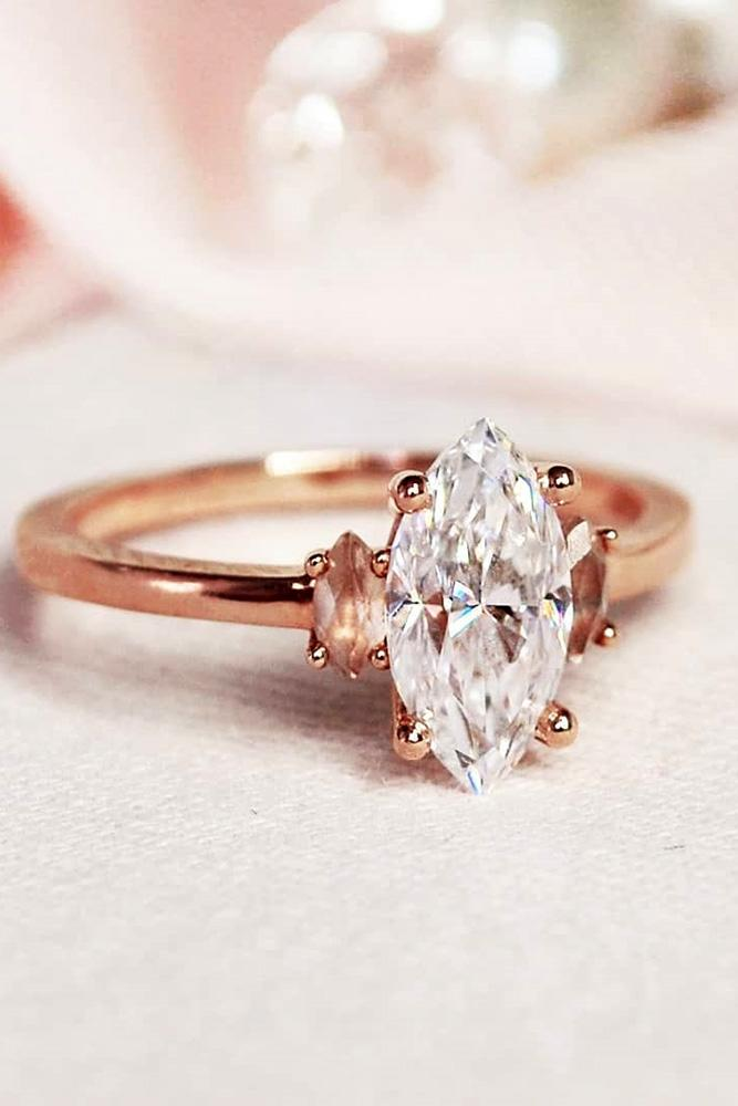 marquise diamond rose gold engagement ring three stone ring