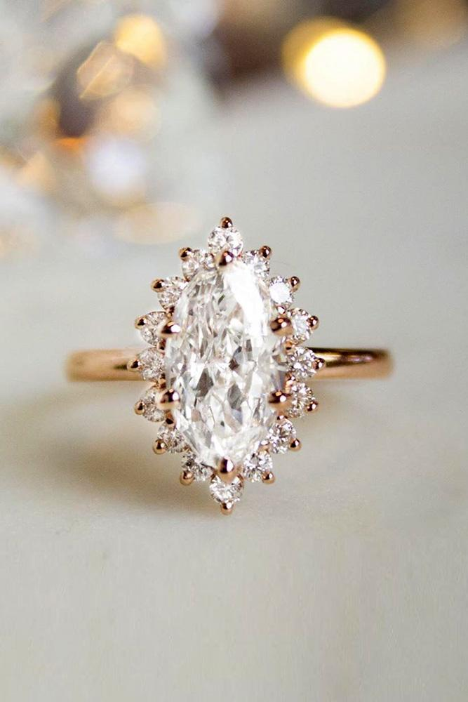 marquise diamond rose gold engagement ring unique halo ring