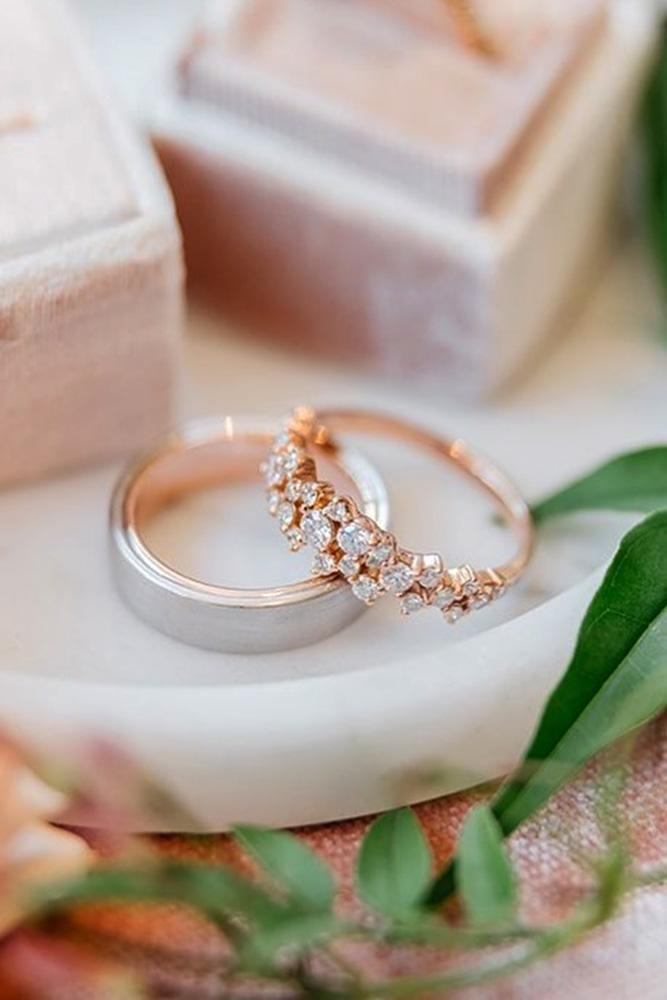 matching wedding bands rose gold wedding rings unique wedding bands