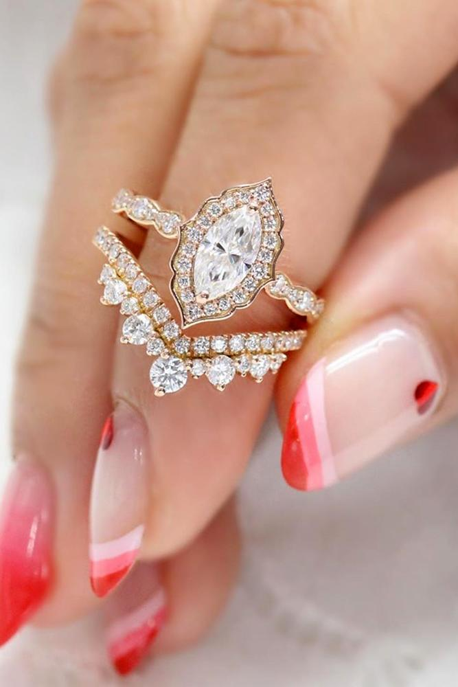 moissanite engagement rings rose gold solitaire marquise cut ring halo ring