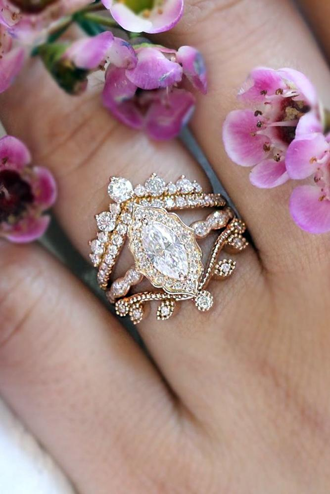 moissanite engagement rings rose gold solitaire marquise cut ring