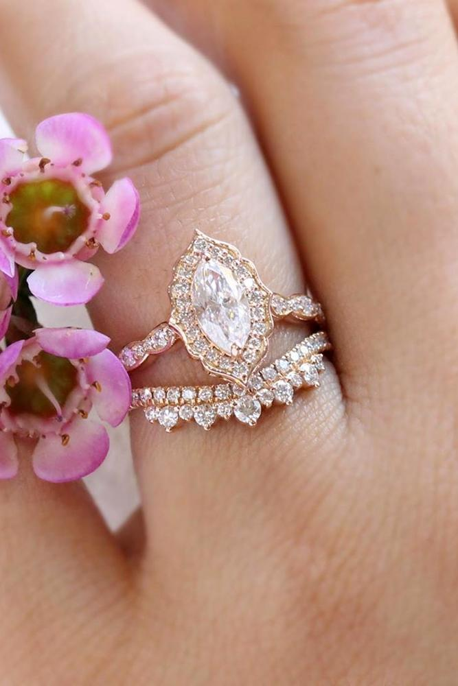 moissanite engagement rings rose gold solitaire marquise cut wedding set
