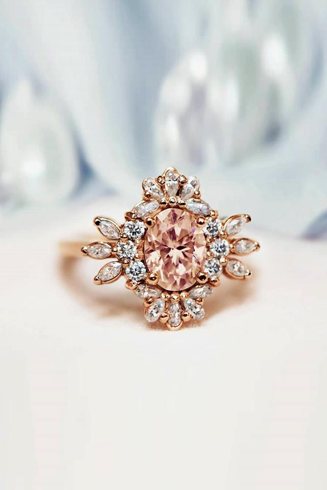 oval engagement rings rose gold engagement rings unique rings floral ring