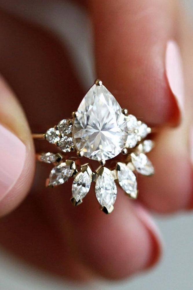 pear shaped engagement rings rose gold rings marquise cut rings bridal sets