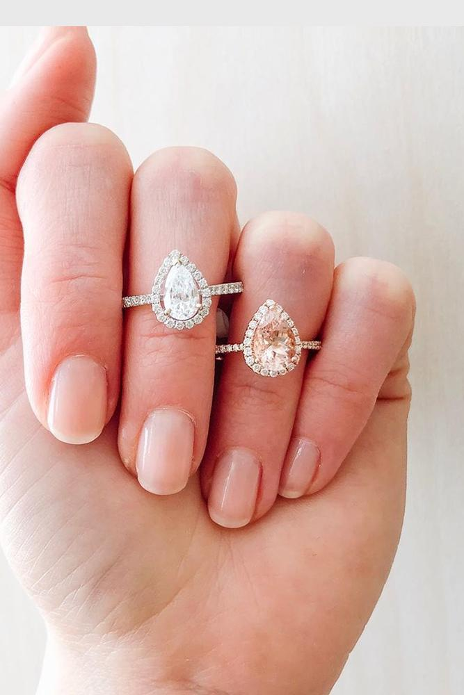 pear shaped engagement rings white gold engagement rings halo engagement rings
