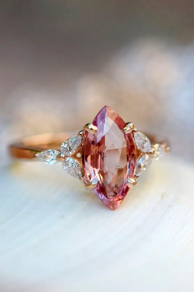 sapphire engagement rings marquise cut ring rose gold ring pear cut diamond ring