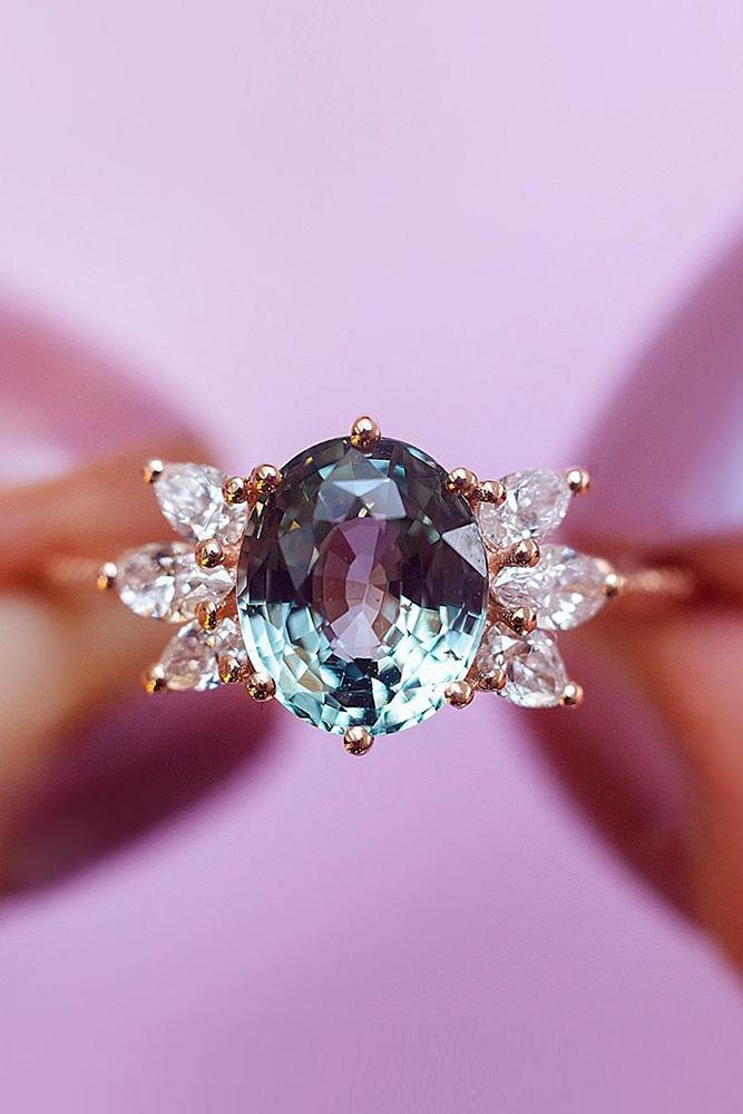 sapphire engagement rings oval cut ring rose gold ring pear cut diamond ring