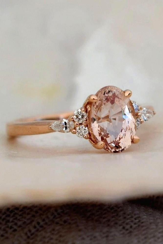 sapphire engagement rings oval cut ring rose gold ring pear peach sapphire ring