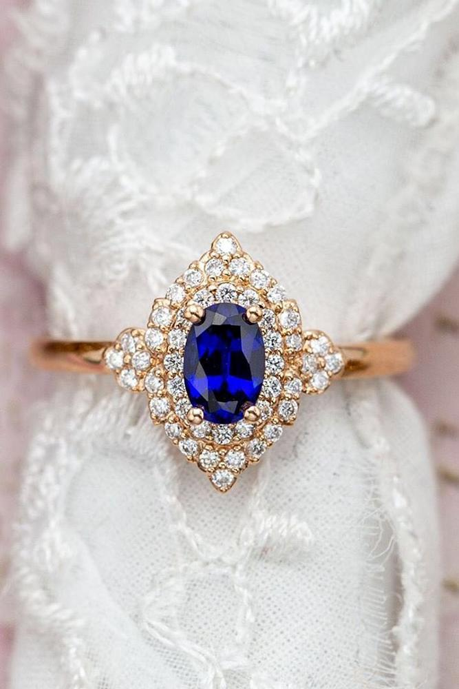 sapphire engagement rings rose gold engagement rings oval cut rings vintage ring