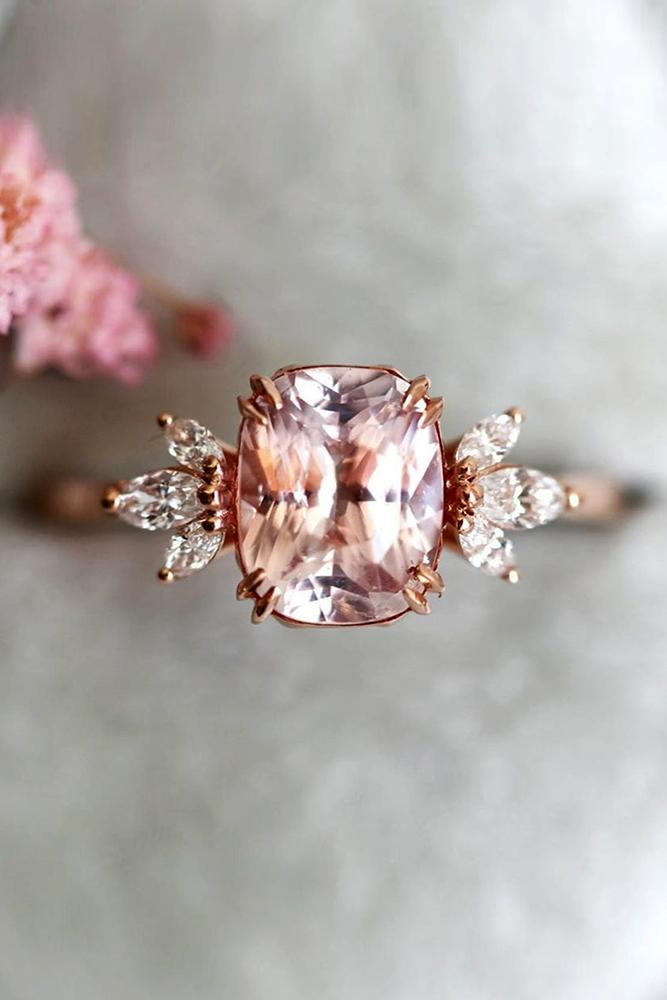 sapphire engagement rings rose gold ring pink sapphire ring cushion cut ring