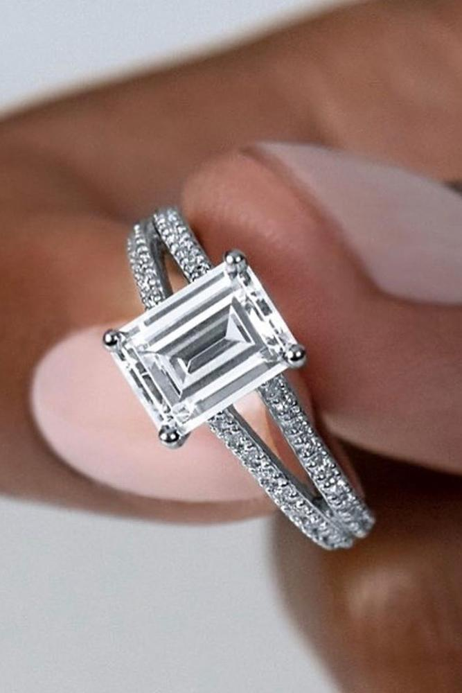 solitaire engagement rings emerald cut engagement rings split shank engagement rings