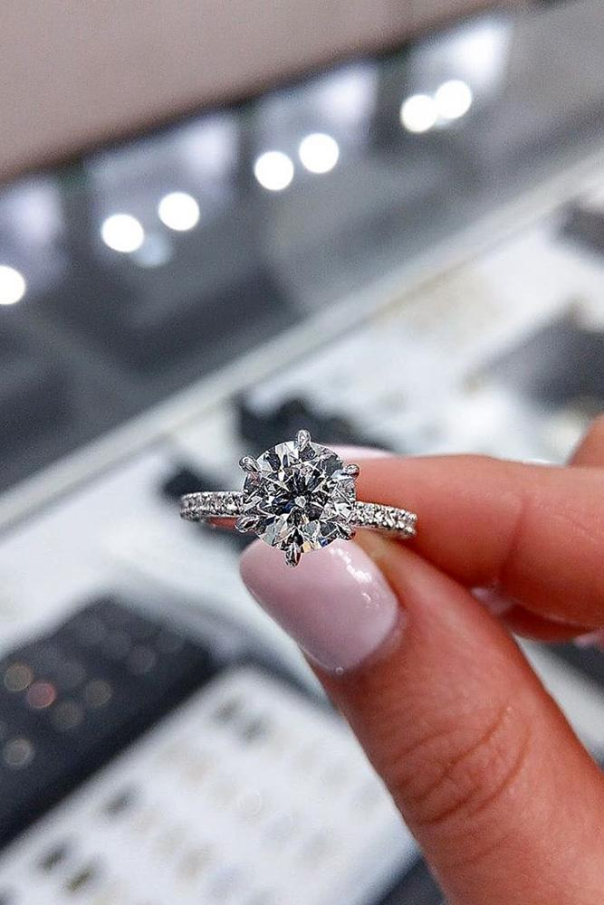 solitaire engagement rings round cut diamond rings simple rings white gold rings