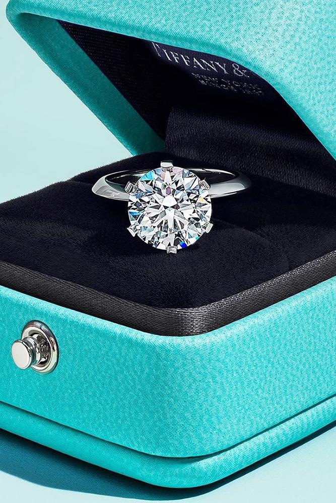 tiffany engagement rings white gold engagement rings round cut solitaire engagement rings