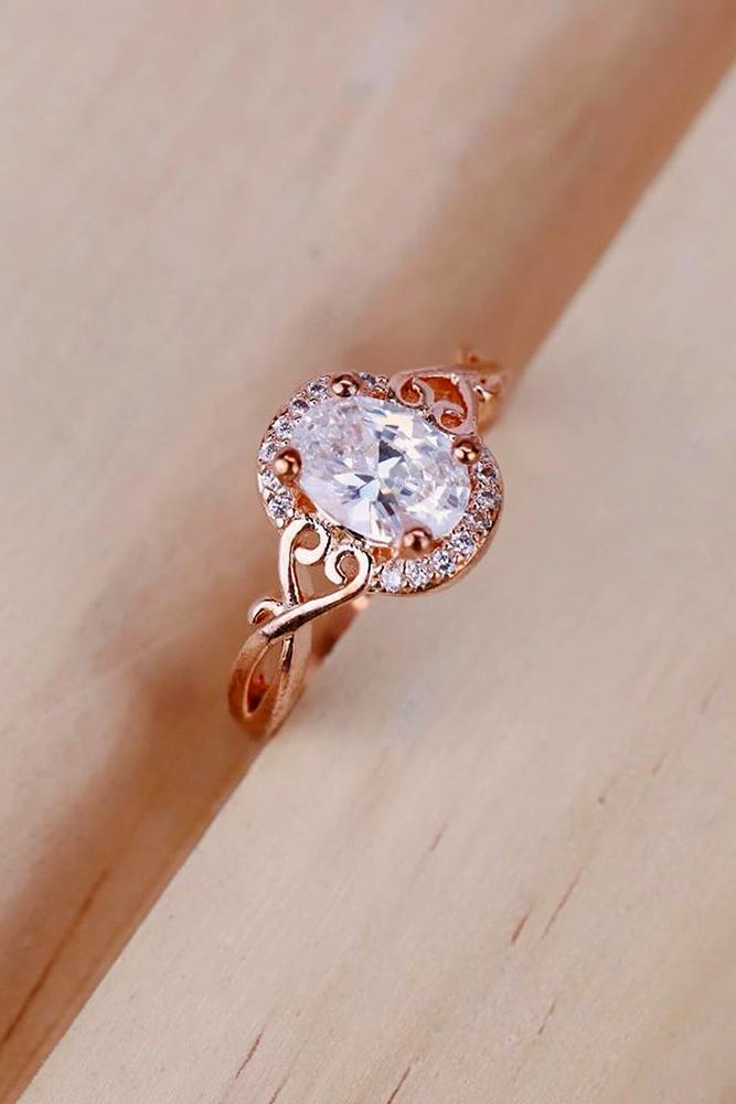 unique engagement rings rose gold engagement rings oval cut ring halo ring
