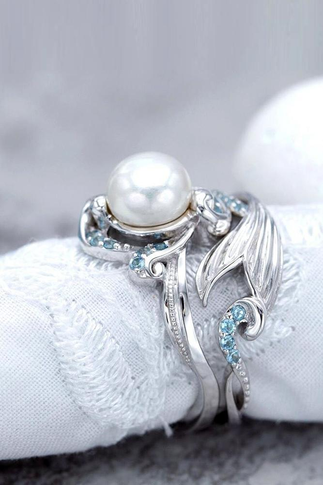 unique engagement rings white gold engagement rings pearl engagement ring