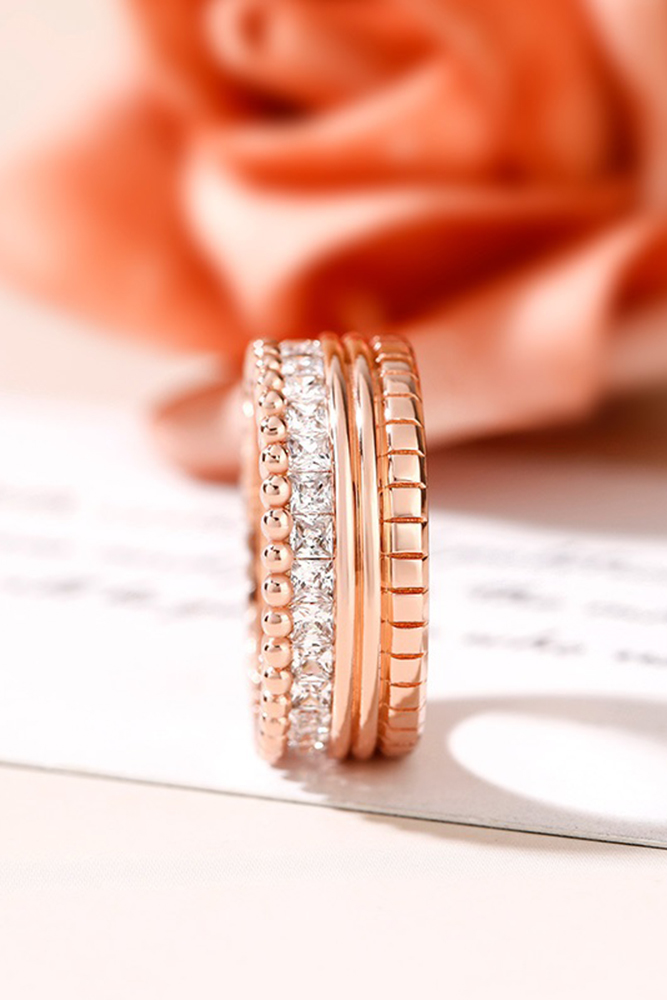 unique wedding rings rose gold wedding bands stackable ring