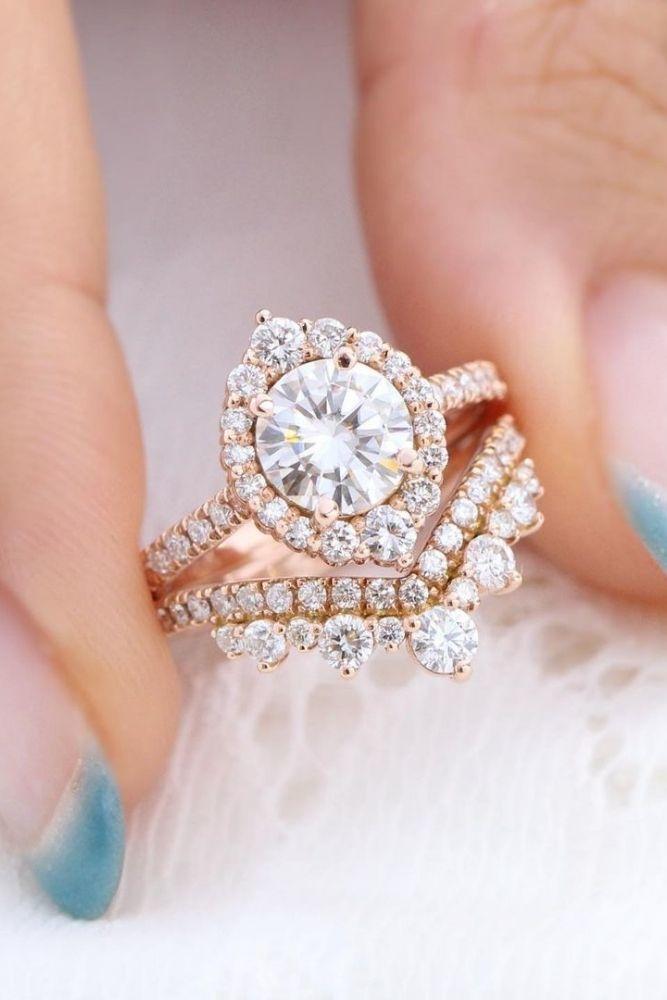 vintage wedding rings floral halo rings1