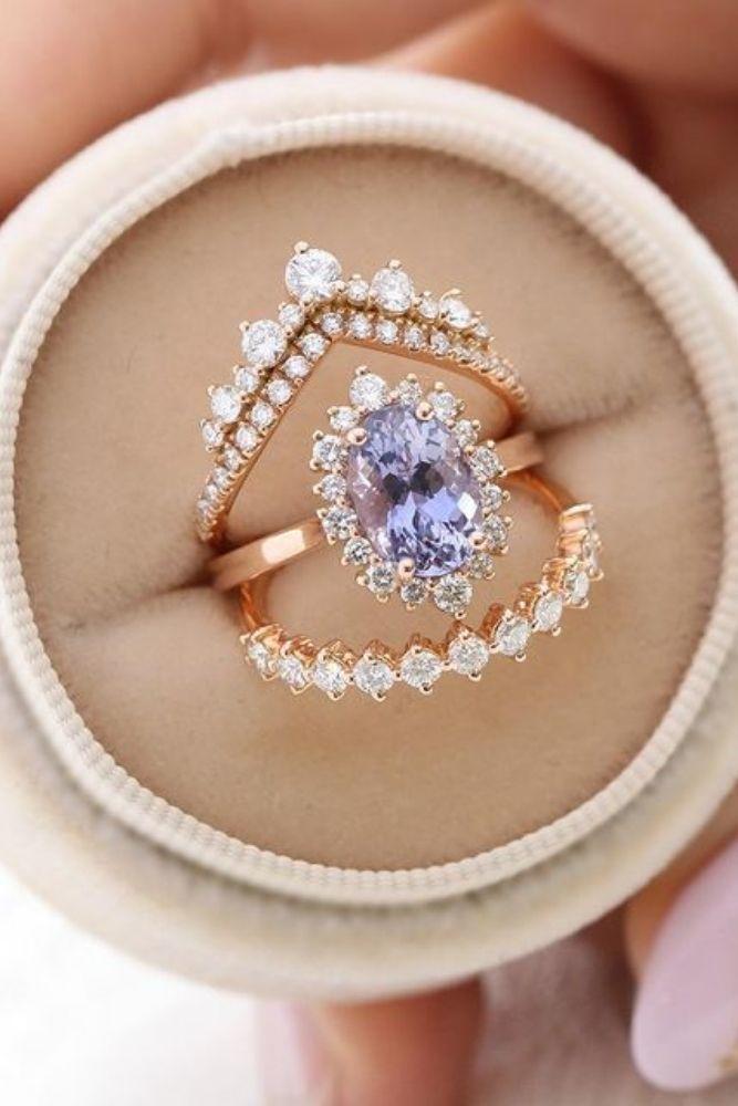 vintage wedding rings floral halo rings2