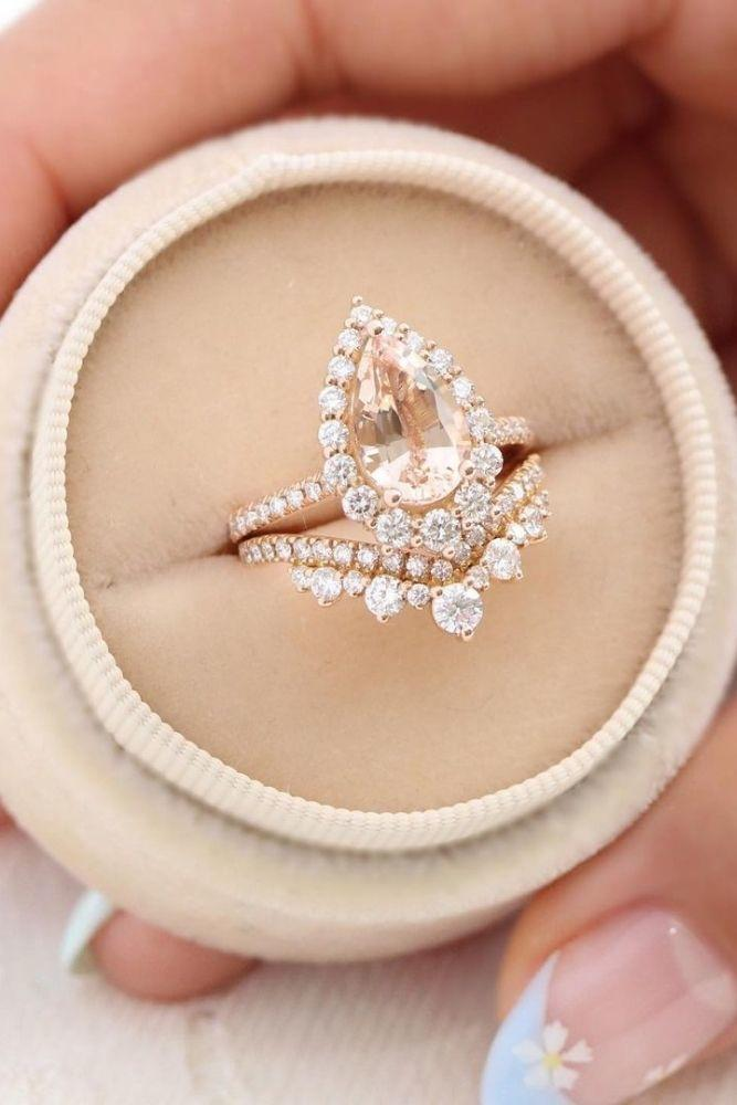 vintage wedding rings floral halo rings