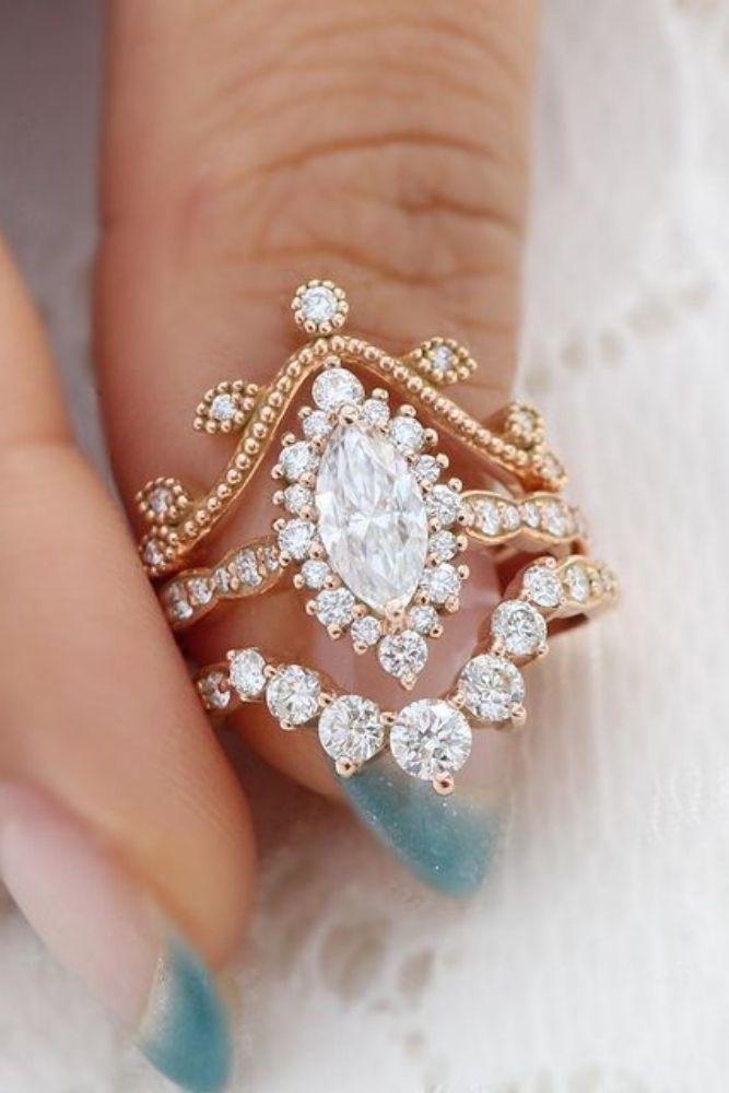 vintage wedding rings marquise & pear cut rings2